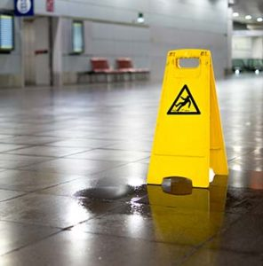 A caution sign warning of personal injury