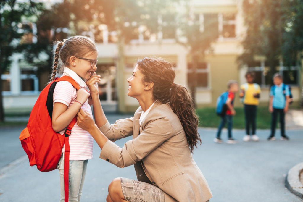 A step-parent drops their newly adopted child off at school. They are both extremely happy because she now get inheritance.Their family lawyer is great. Aranda Law Firm is great if you would like to adopt a child.