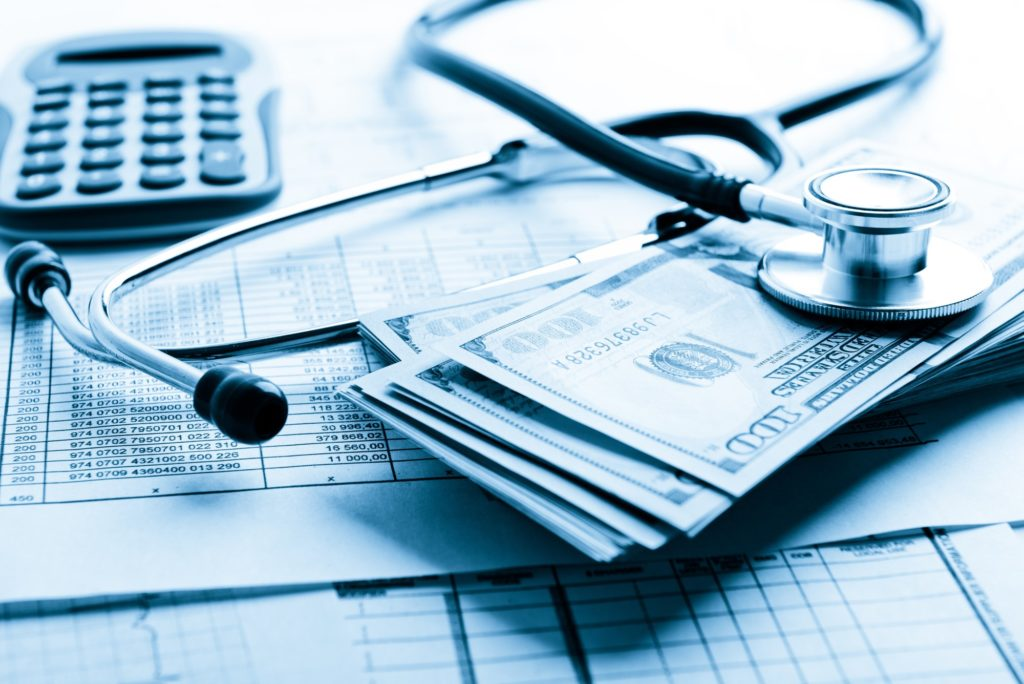 Personal injury case with money, legal papers